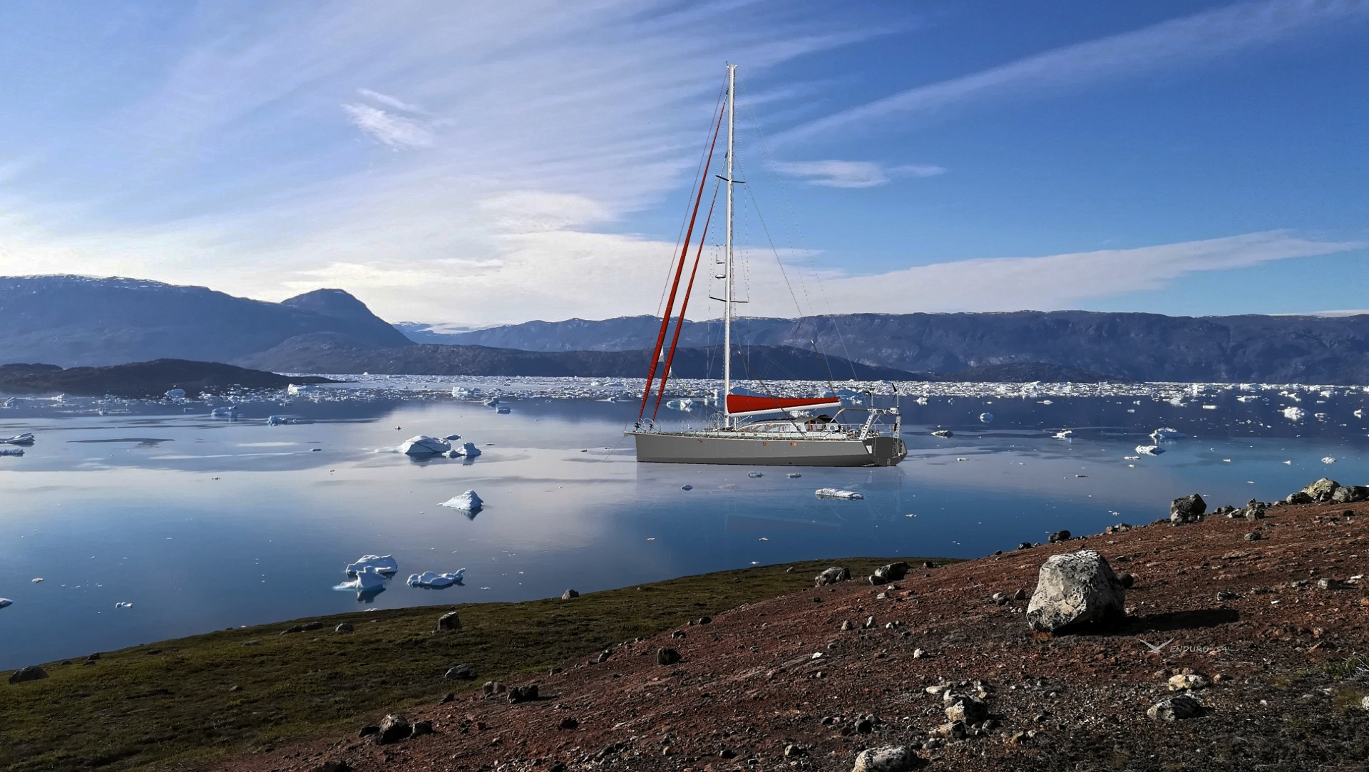 Sailboat at anchor in arctic ices
