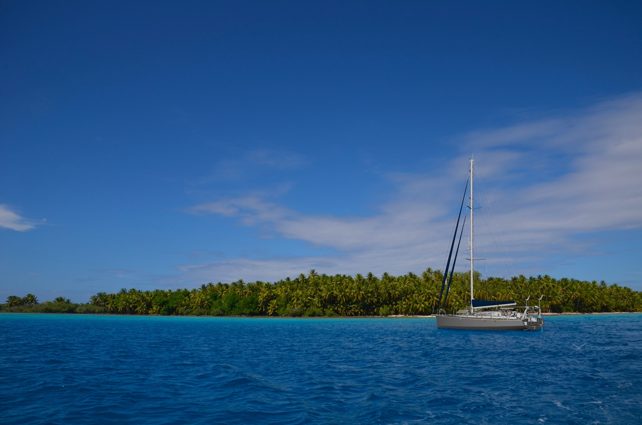 Aluminium sailboat at anchor pacific atoll